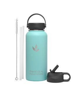 Thankfully Nourished Water Flask - Two Lid Set - Aqua