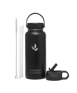 Thankfully Nourished Water Flask - Two Lid Set - Black